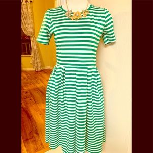 LuLaroe green/white stripes dress